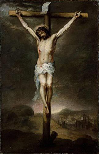 A Crucificação (1675) de Murillo - 75x115 - Tela Canvas Para Quadro