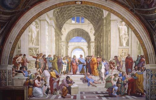 A Escola de Atenas de Rafael - 75x115 - Tela Canvas Para Quadro