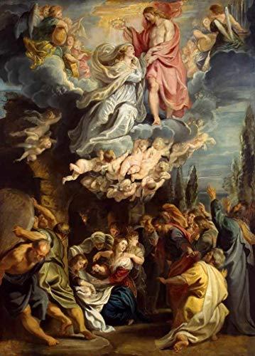 Ascensão e Coroação da Virgem Maria (1609) de Peter Paul Rubens - 75x104 - Tela Canvas Para Quadro