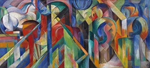 Estábulos de Franz Marc - 75x163 - Tela Canvas Para Quadro