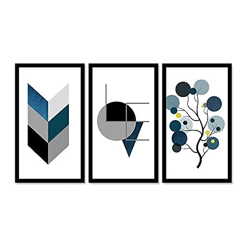 Kit 3 Quadros Decorativos Grandes Formas Moderna Azul Love
