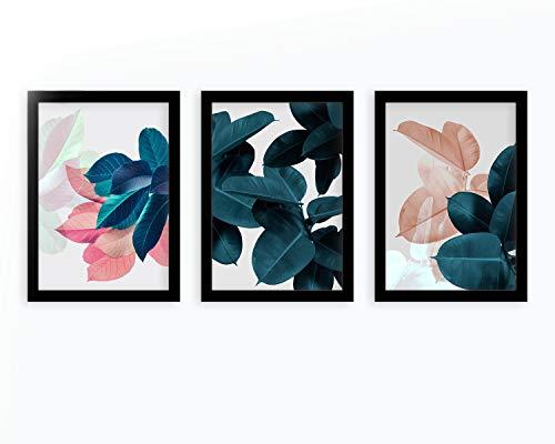 Kit 3 Quadros Decorativos Para Sala e Quarto Com Moldura Folhas Abstratas