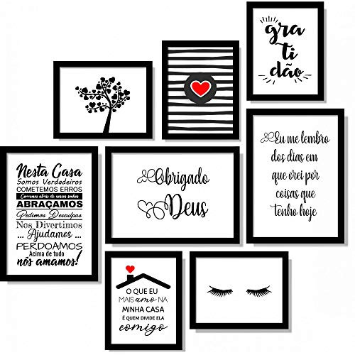 Kit 8 Quadros Decorativos Para Sala de Estar Gratidão Deus Frases