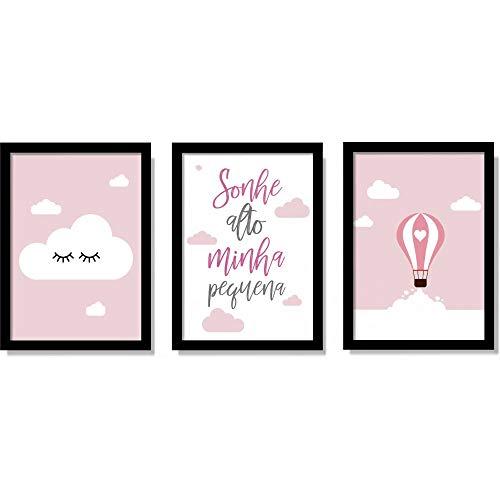 Kit Quadros Decorativos Para Quarto de Menina Minha Pequena Com Moldura e Vidro
