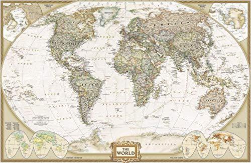 Mapa Mundi Vintage - (2007) - 50x77 - Tela Canvas Para Quadro