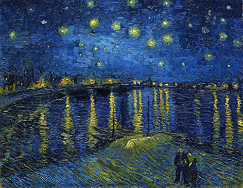 Noite Estrelada Sobre o Ródano de Vincent van Gogh - 75x97 - Tela Canvas Para Quadro