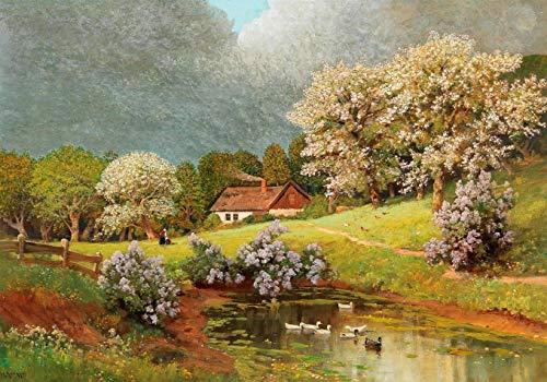 Paisagem de Primavera com Patos na Lagoa de Alois Arnegger - 50x71 - Tela Canvas Para Quadro