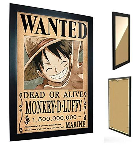 *Quadro com Moldura One Piece - Cartaz de Procurado Luffy*