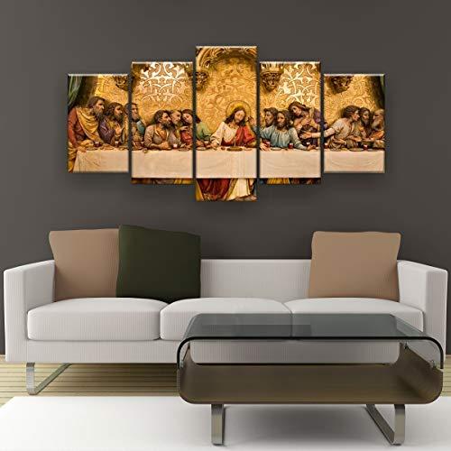 Quadros Decorativo Santa Ceia Dourada RL13M5 130x65