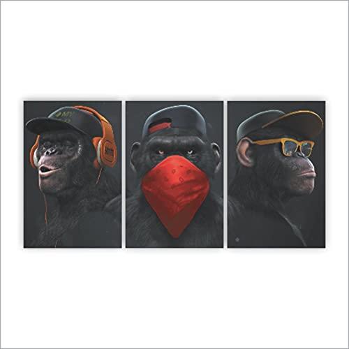 Quadros Decorativos Gangue Dos Macacos Divertidos 120x60cm