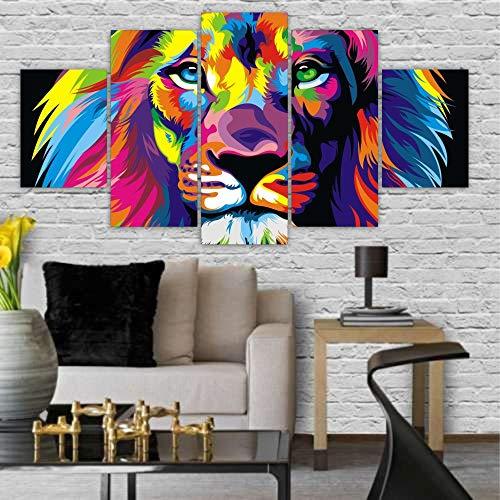Quadros Decorativos Mosaico MDF Leão Colorido 115x60