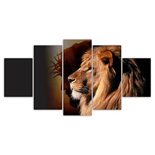 Quadros Decorativos Mosaico MDF Leão de Judá Jesus 115x60cm