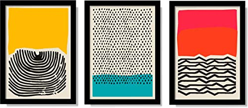 Quadros Decorativos Para Sala Moderno Abstrato Colorido Figura Geométrica - Kit 3 Unidades